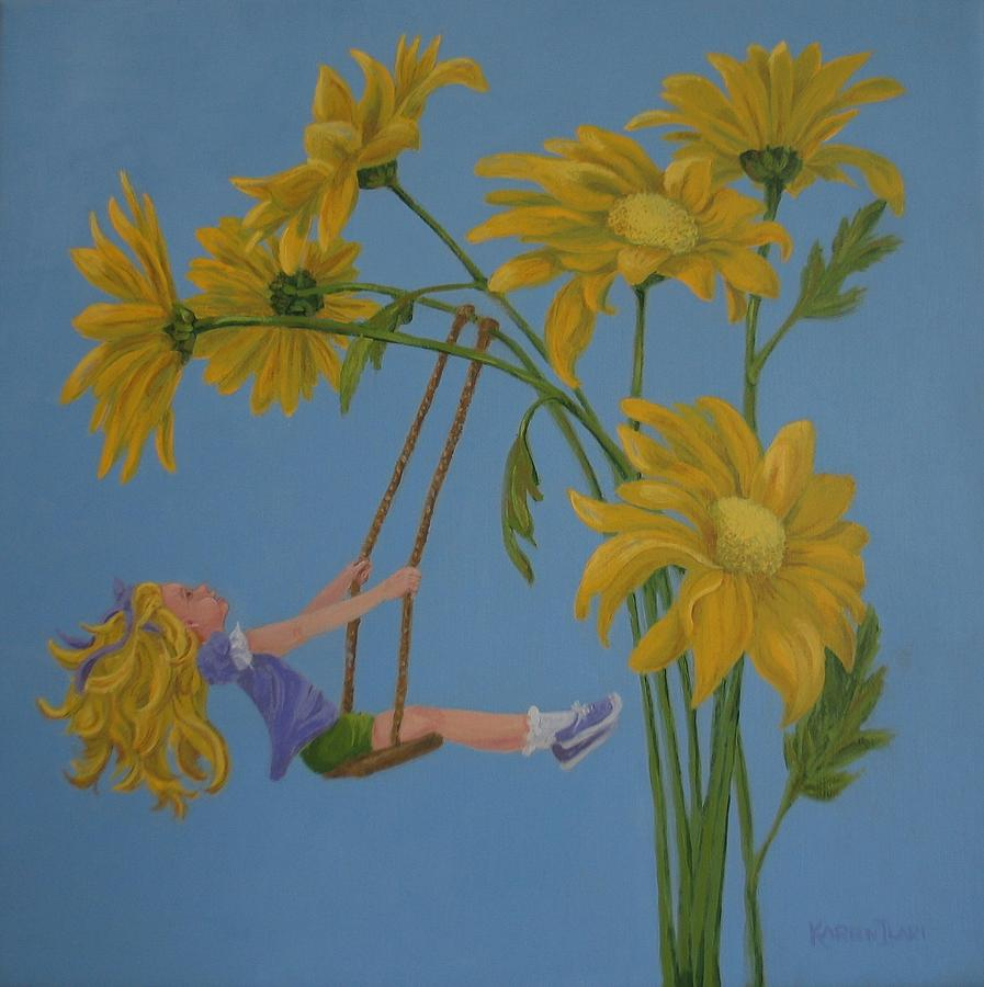 Swinging Painting - Daisy Days by Karen Ilari