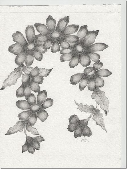 Flowers Drawing - Daisy Garland by Vicki Thompson
