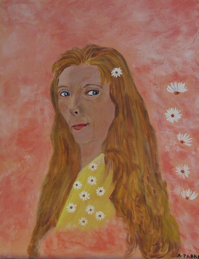 Girl Painting - Daisy Girl by Aleta Parks