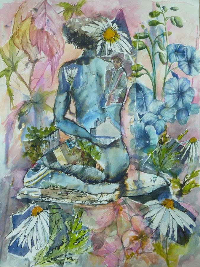 Figurative Painting - Daisy In The Garden by Denise Allen