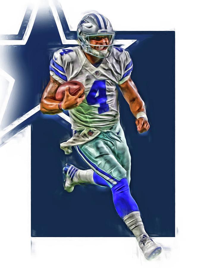 Cowboys Mixed Media - Dak Prescott Dallas Cowboys Oil Art Series 3 by Joe Hamilton