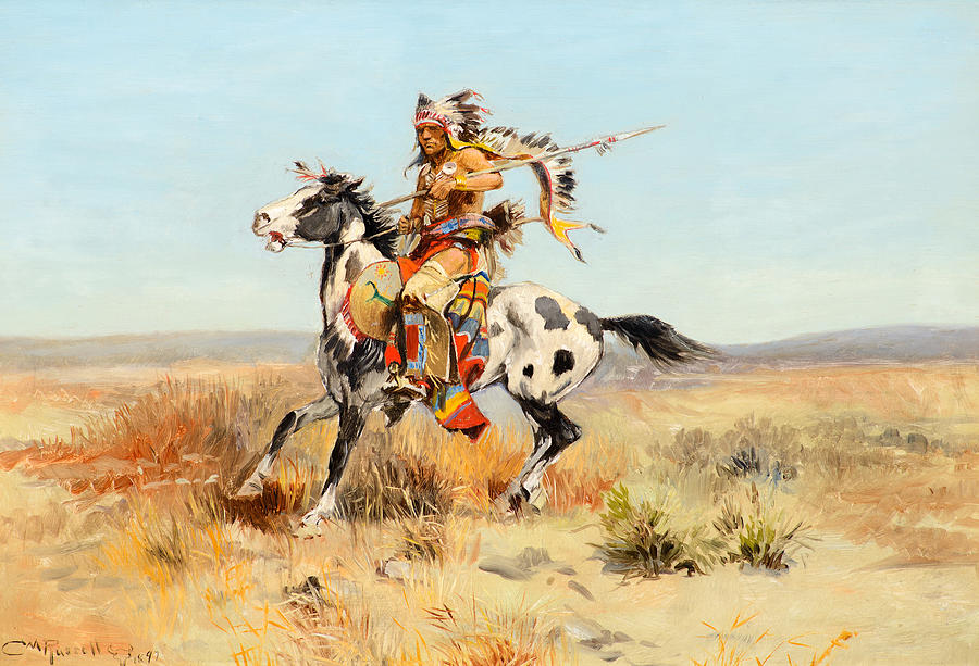 Charles M Russell Painting - Dakota Chief by Celestial Images