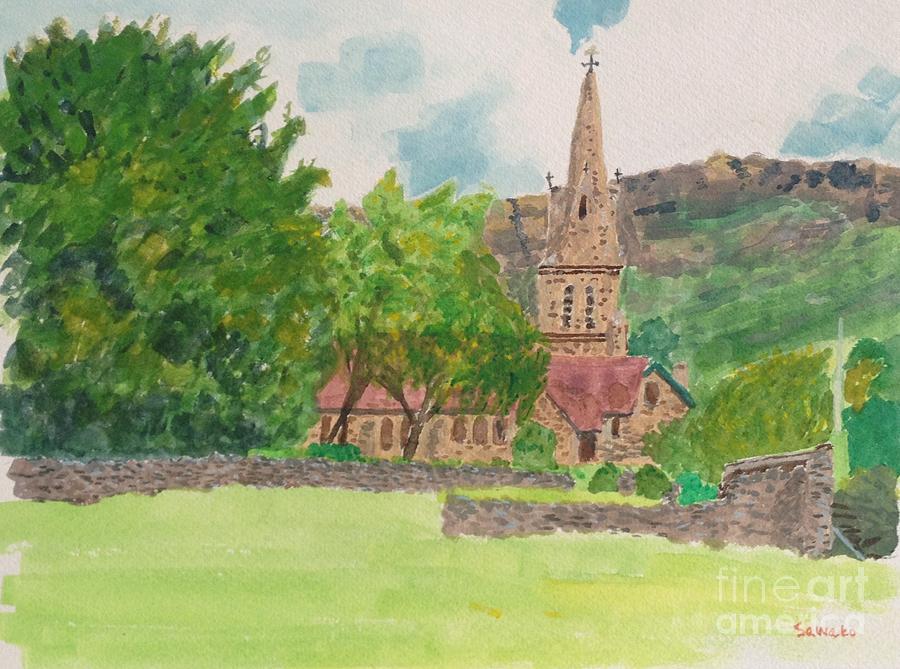 England Church Painting - Edale Church And Beautiful Landscape by Sawako Utsumi