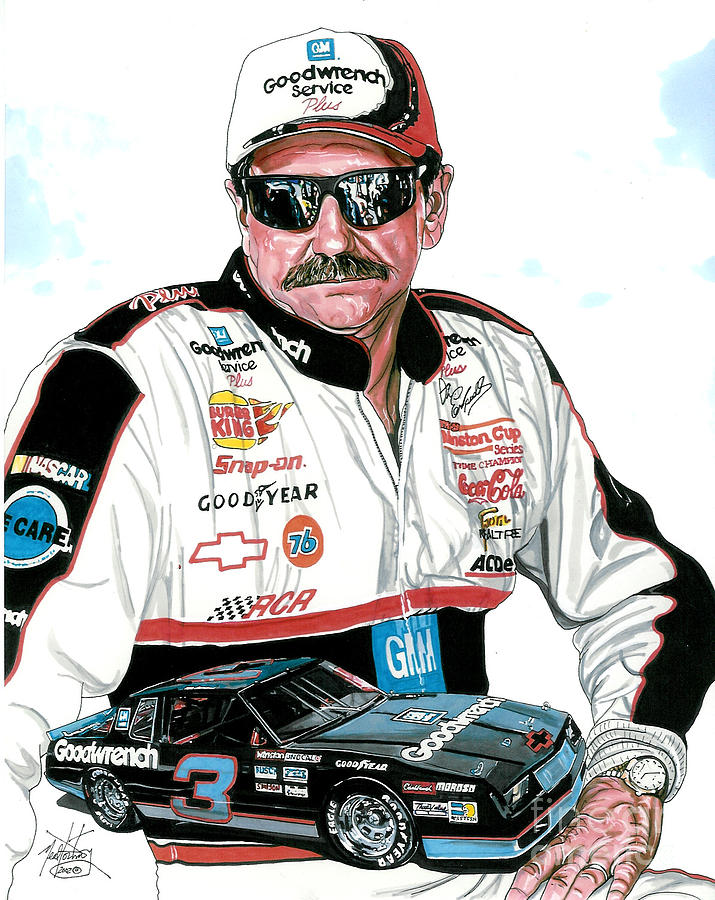 Nascar Drawing - Dale Earnhardt by Neal Portnoy