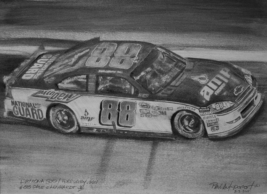 Nascar Drawing - Dale Jr by Paul Autodore