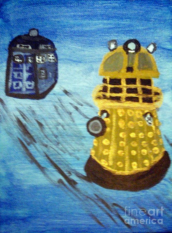 Dr. Who Painting - Dalek On Blue by Elizabeth Arthur