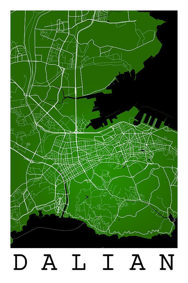 Dalian Street Map - Dalian China Road Map Art On Green Backgro ... on