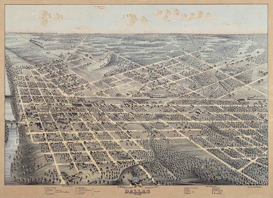 Dallas 1872 by Herman Brosius by Texas Map Store
