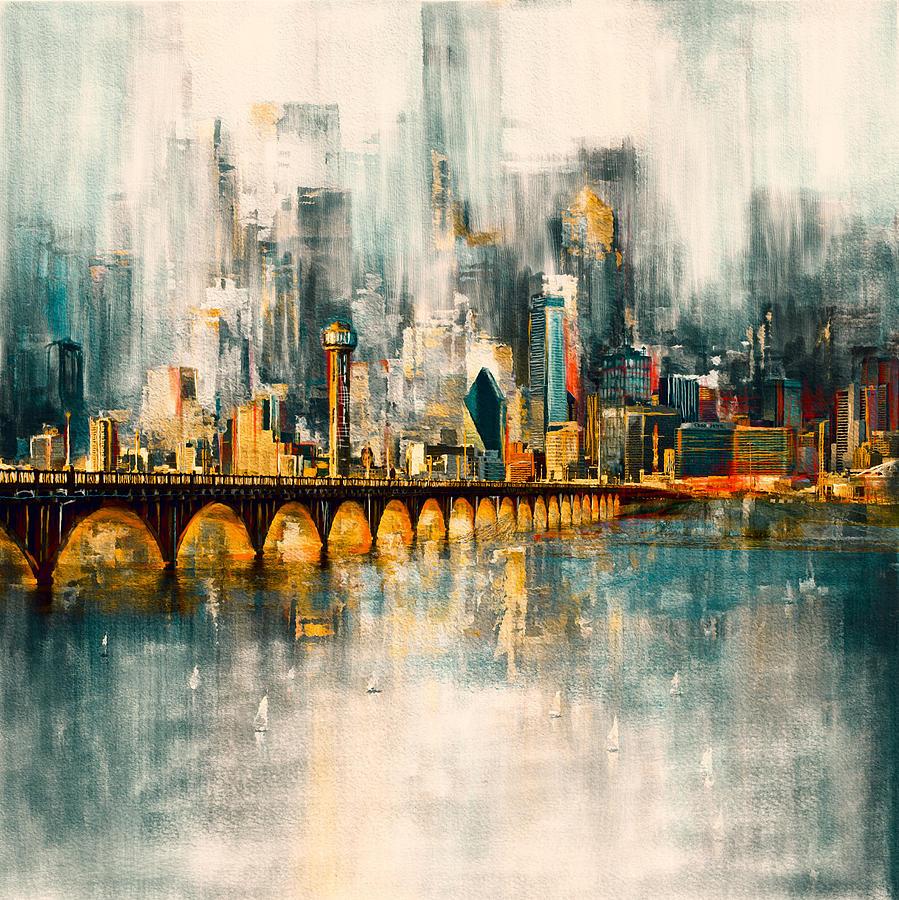 Dallas Skyline Painting - Dallas Skyline 217 3 by Mawra Tahreem