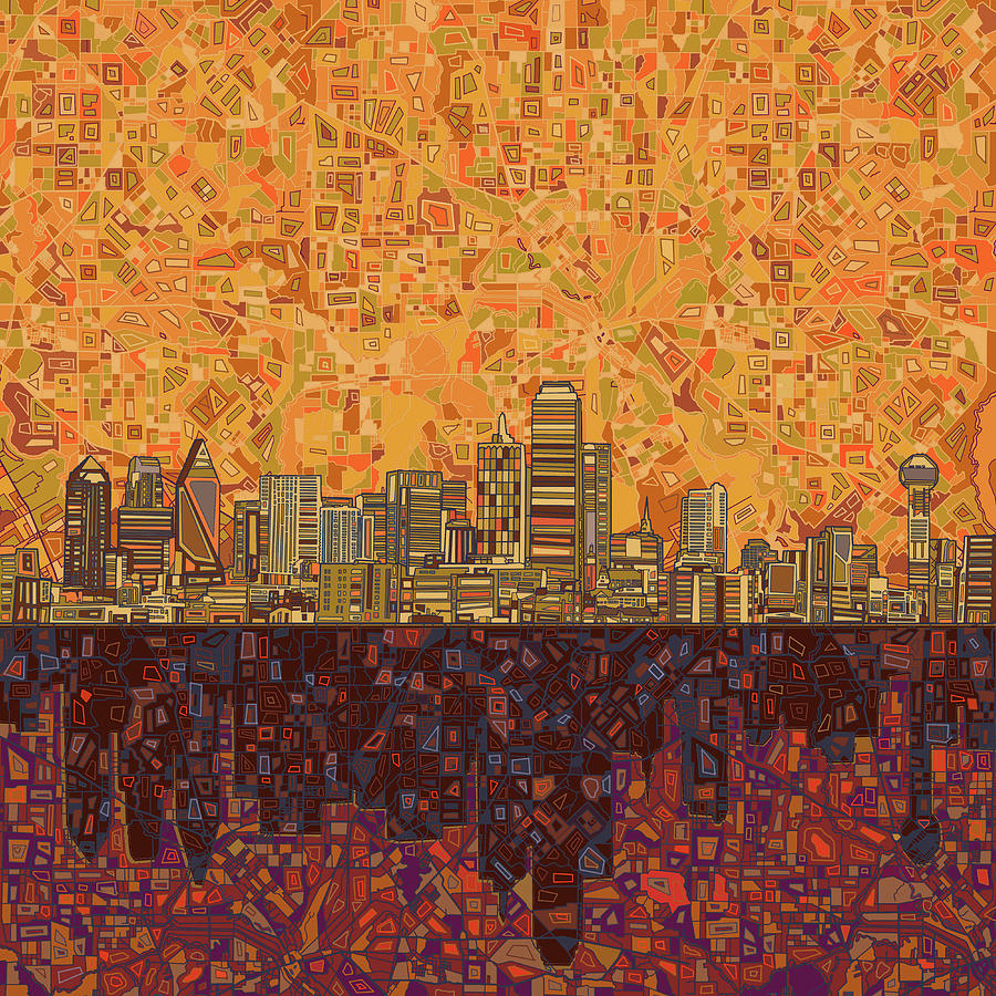 Dallas Painting - Dallas Skyline Abstract by Bekim M