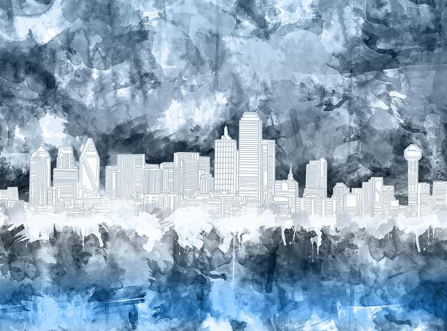 Dallas Painting - Dallas Skyline Brush Strokes Blue 2 by Bekim M