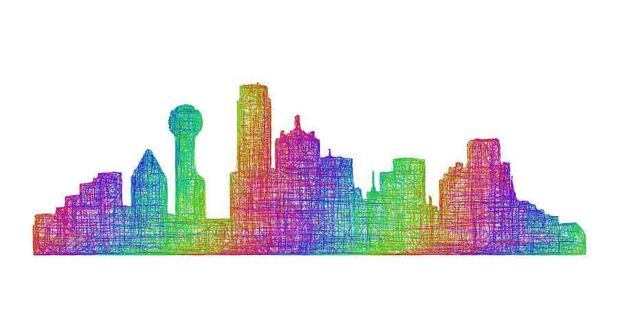 Dallas Digital Art - Dallas Skyline by David Zydd
