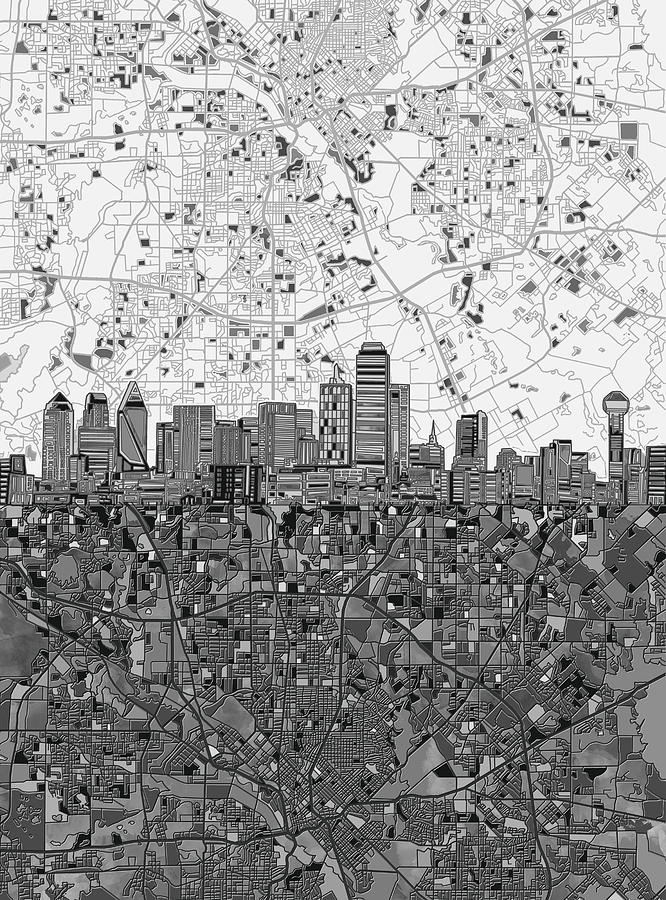 Dallas Skyline Map Black And White 4 Painting By Bekim Art