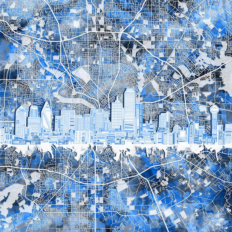 Dallas Painting - Dallas Skyline Map Blue 5 by Bekim M