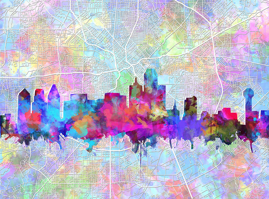 Dallas Skyline Map Purple Painting by Bekim Art