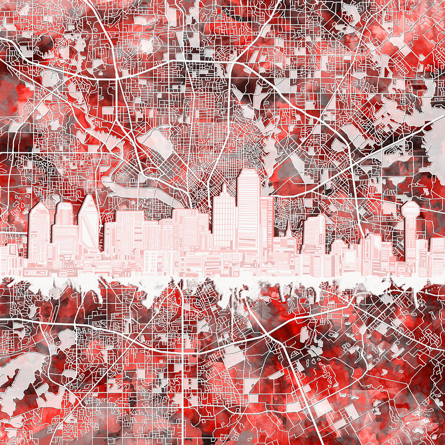 Dallas Skyline Map Red 2 Painting By Bekim Art