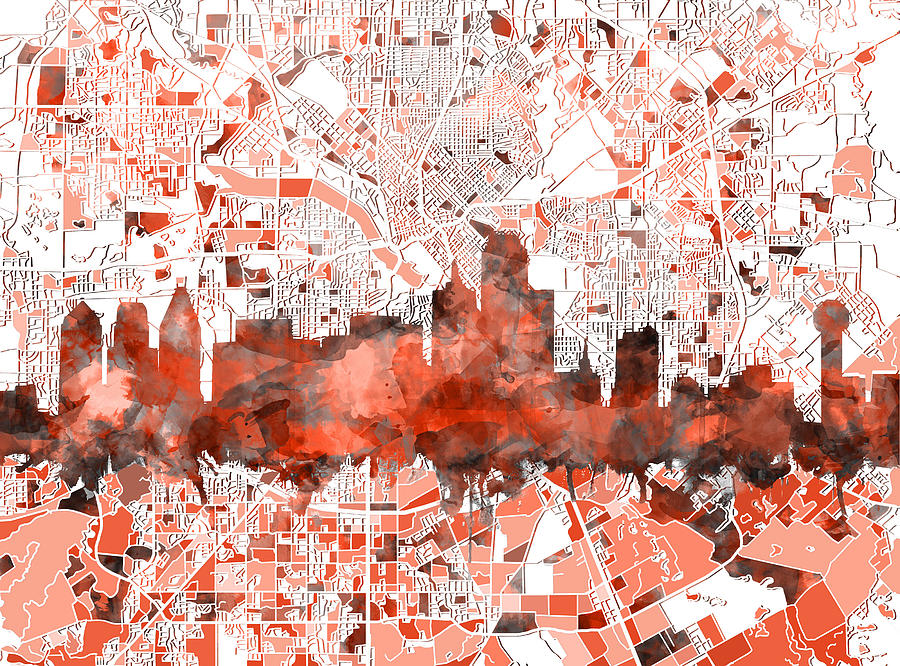 Dallas Painting - Dallas Skyline Map Red by Bekim M
