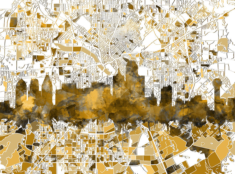 Dallas Painting - Dallas Skyline Map Sepia by Bekim M