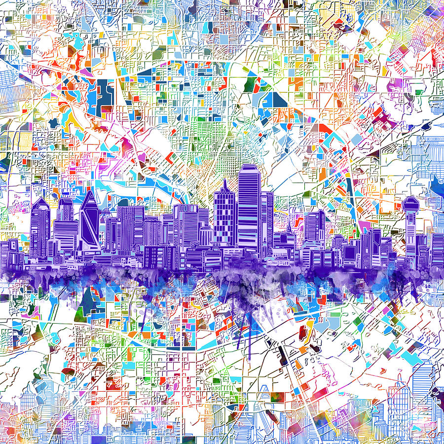 Dallas Digital Art - Dallas Skyline Map White 3 by Bekim M