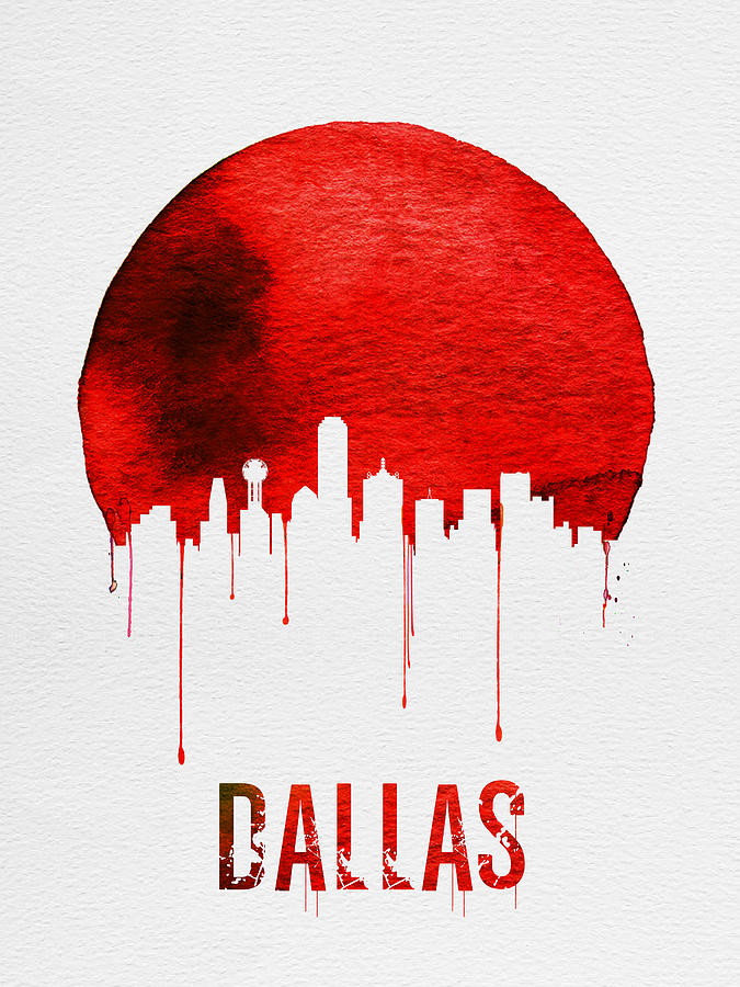 Dallas Painting - Dallas Skyline Red by Naxart Studio