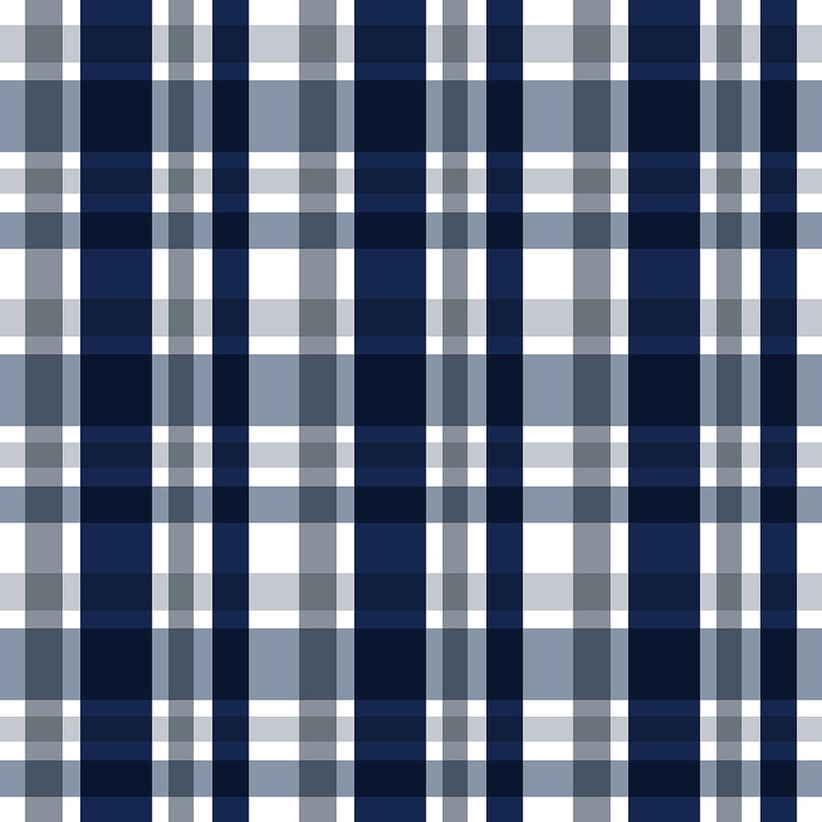 Dallas Sports Fan Navy Blue Silver Plaid Striped by Shelley Neff