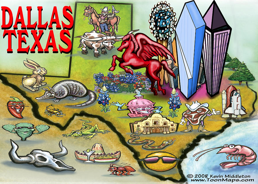 Dallas Digital Art - Dallas Texas Cartoon Map by Kevin Middleton