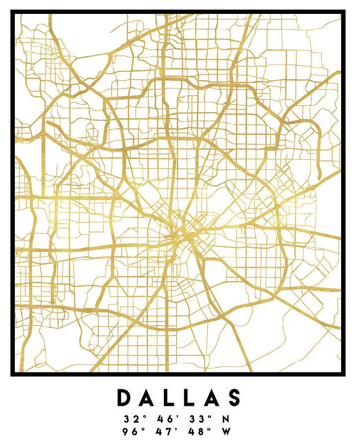 Dallas Texas City Street Map Art