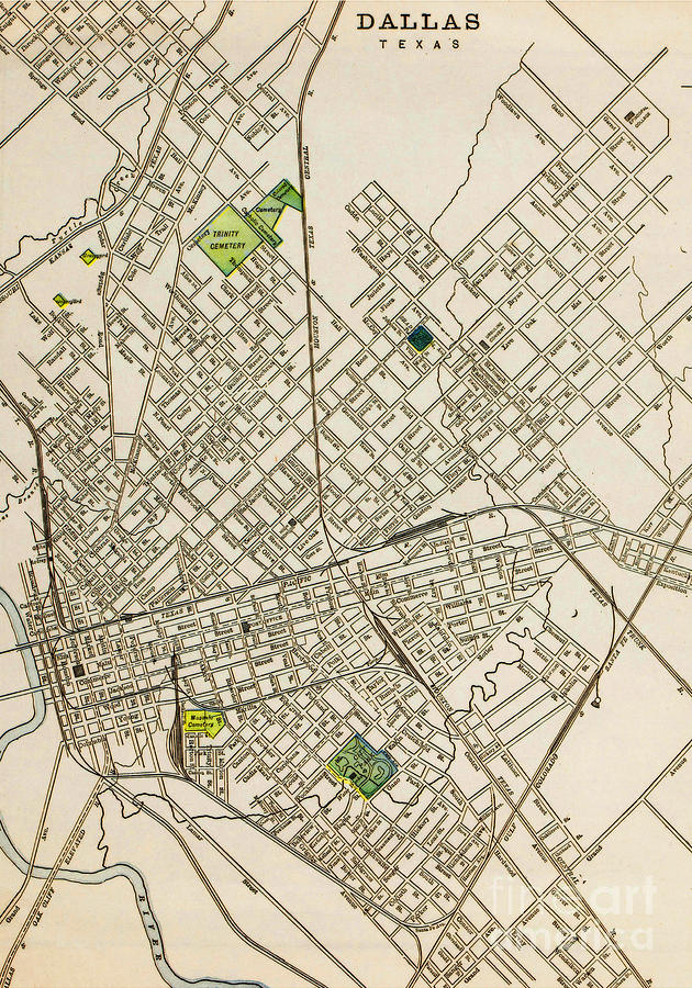 Dallas Texas Map 1899 Drawing by Peter Ogden Gallery on