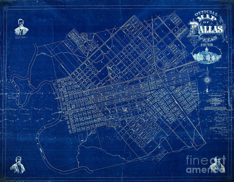 Dallas texas official 1875 city map blueprint butterfield and dallas drawing dallas texas official 1875 city map blueprint butterfield and rundlett by peter gumaer malvernweather Choice Image