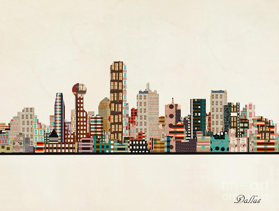 Dallas Painting - Dallas Texas Skyline by Bri Buckley