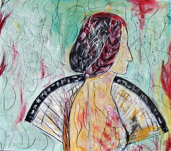 Woman Painting - Dama Con Abanico by Soledad  Fernandez