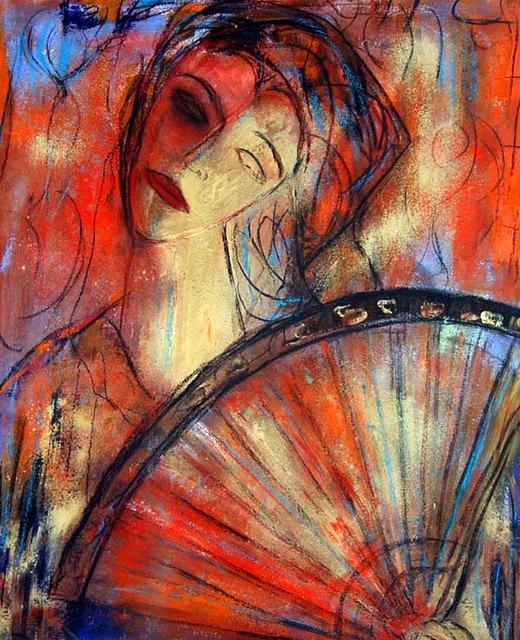 Woman Painting - dama con abanico VIII by Soledad Fernandez