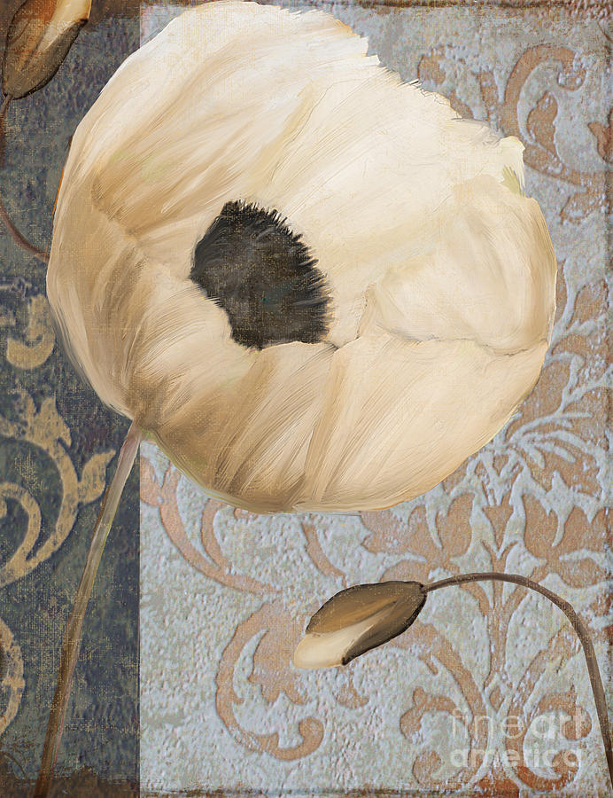 White Poppy Painting - Damask Poppy by Mindy Sommers