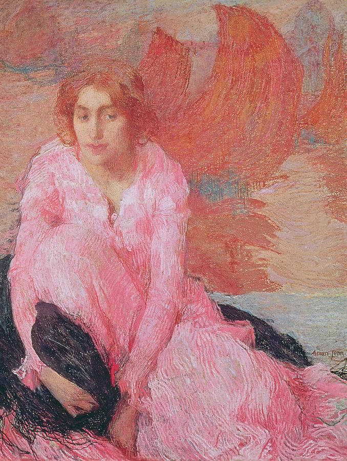 Lady Painting - Dame En Rose by Edmond Francois Aman Jean