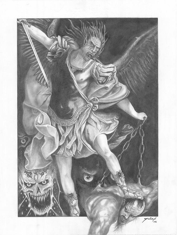 Worrier Drawing - Damnation Of Evil by Julian  B