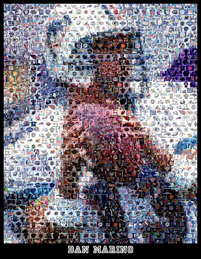 Dan Marino Digital Art - Dan Marino Mosaic by Paul Van Scott