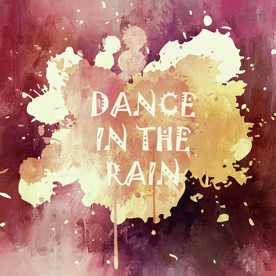 Typographical Mixed Media - Dance In The Rain Red Version by Georgiana Romanovna
