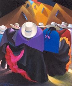 Andean Painting - Dance by Julio Quispejo