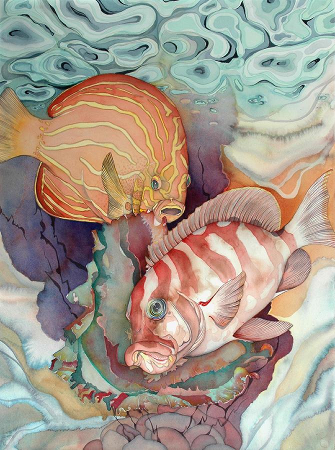 Sealife Painting - Dance Macabre by Liduine Bekman