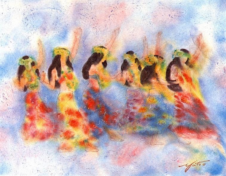 Hula Dancers Painting - Dance Of Paradise by John YATO