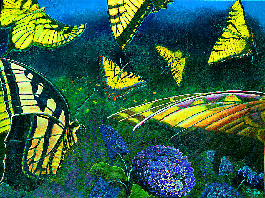 Butterfly Painting - Dance of the Butterflies by Peter Bonk