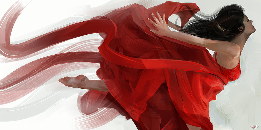 Red Painting - Dance by Steve Goad