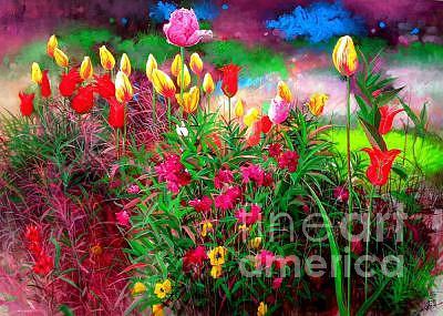 Flower Painting - Dance Tulip by Bo Li