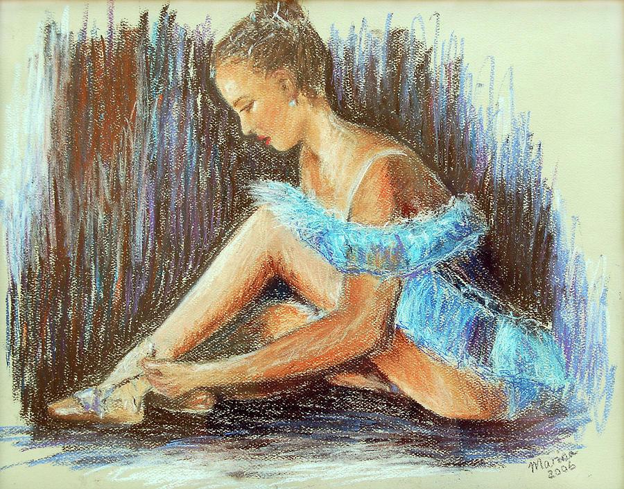 Ballet Painting - Dancer Adjusting Her Slipper by Marina Garrison