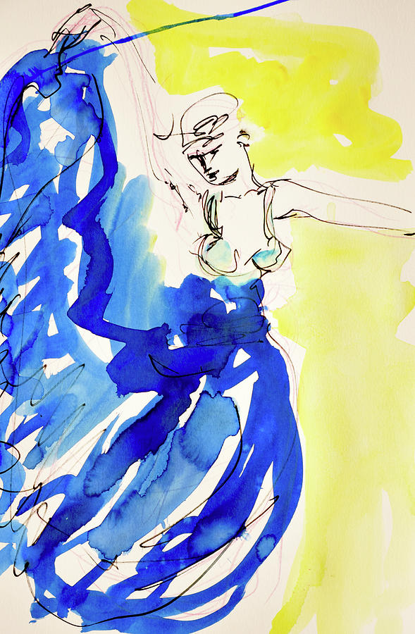 Dancer Painting - Dancer In Blue by Amara Dacer