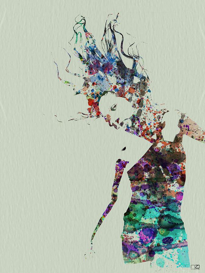 Dancer Painting - Dancer Watercolor Splash by Naxart Studio
