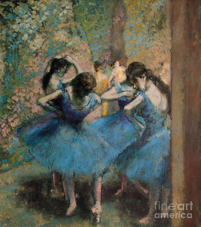 Edgar Painting - Dancers in blue by Edgar Degas
