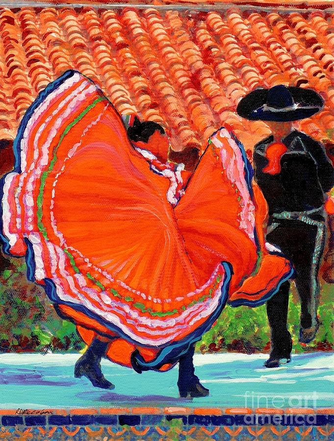 Dancing Painting - Dancers In Old Town San Diego California by RD Riccoboni