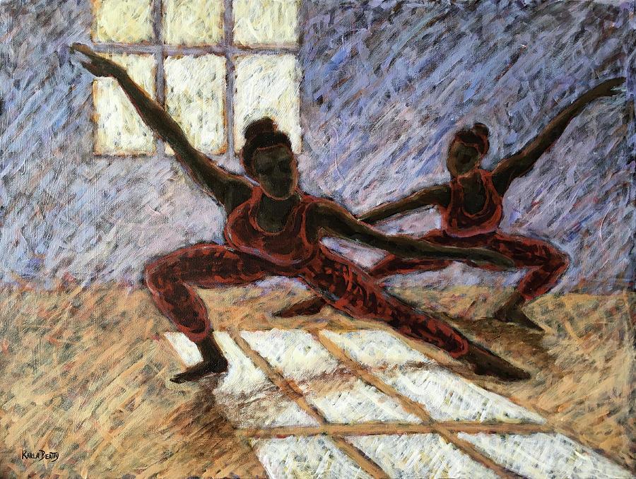 Acrylic Painting - Dancers Near a Window by Karla Beatty