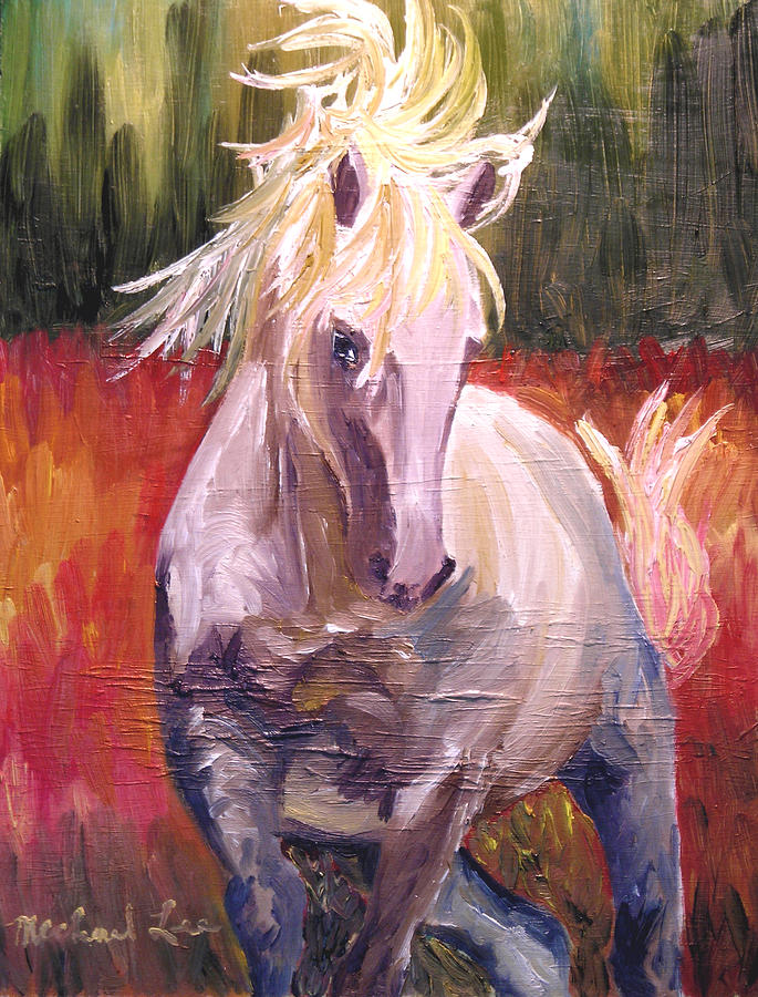 Horse Painting - Dances In Fire Meadow by Michael Lee